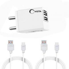 Ovista CDDH-001 Universal Travel Adapter Dual USB Plug Ports | USB Wall Charger with 3.1Amp Fast Charging and 2.1Amp Fast Charging Cable 1 Meter Included 2 Cable C Type (White)