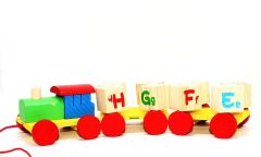 Alphabet Letter Train-Wooden Train Toy -English Vocabulary Building Block -A to Z (Material :- Wooden)