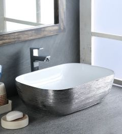 Ceramic Designer Rectangular Silver & White Counter Top Over Counter Wash Basin Table Top Vessel Sink Glossy Finish for Bathroom & Living Room (Dimension 18x13 Inch )