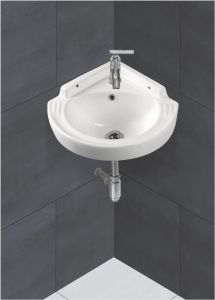 Ceramic Crystal White Wall Mounted Table Top Wash Basin (Dimension L 400 X W 400 X H 140 mm) Glossy Finish Super White Color