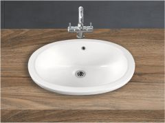 Ceramic Crystal White Wall Mounted Table Top Wash Basin (Dimension L 550 X W 400 X H 200 mm) Glossy Finish|Super White Color