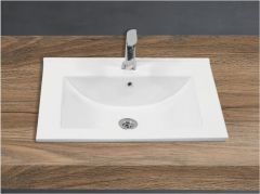 Ceramic Crystal White Wall Mounted Table Top Wash Basin (Dimension L 600 X W 485 X H 185 mm) Glossy Finish|Super White Color