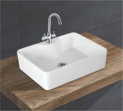 Ceramic Crystal White Wall Mounted Table Top Wash Basin (Dimension L 475 X W 375 X H 150 mm) Glossy Finish|Super White Color
