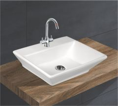 Ceramic Crystal White Wall Mounted Table Top Wash Basin (Dimension L 450 X W 375 X H 150 mm) Glossy Finish|Super White Color