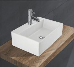 Ceramic Crystal White Wall Mounted Table Top Wash Basin (Dimension L 425 X W 300 X H 150 mm) Glossy Finish|Super White Color