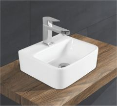 Ceramic Crystal White Wall Mounted Table Top Wash Basin (Dimension L 325 X W 300 X H 140 mm) Glossy Finish|Super White Color