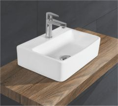 Ceramic Crystal White Wall Mounted Table Top Wash Basin (Dimension L 400 X W 300 X H 140 mm) Glossy Finish|Super White Color