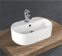 Ceramic Crystal White Wall Mounted Table Top Wash Basin (Dimension L 450 X W 300 X H 140 mm) Glossy Finish|Super White Color