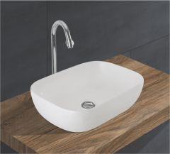 Ceramic Crystal White Wall Mounted Table Top Wash Basin (Dimension L 425 X W 300 X H 140 mm) Glossy Finish|Super White Color