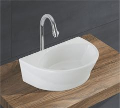 Ceramic Crystal White Wall Mounted Table Top Wash Basin (Dimension L 425 X W 285 X H 140 mm) Glossy Finish|Super White Color