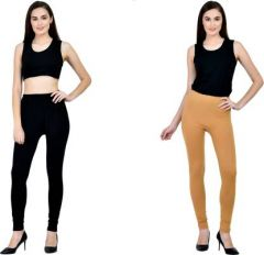 GOOFFI Stylish & Fashionable Churidar Legging Pure Cotton & Solid Color (Pack Of 2)