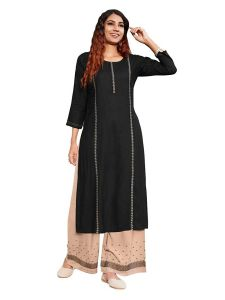 Fashion Valley Dresses Designer Embroidery Work Foil Print Kurti with Rayon Plazzo for Girl's & Women's