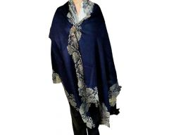 Naqsh Shawls Fashion Accessories Wool Silk Blend Cashmere Wrap   Stole with 4 sided Metallic Lace Border Shawl for Girl's and Women's
