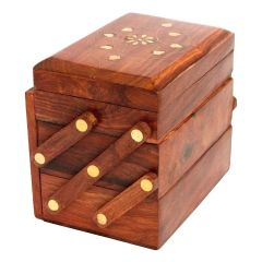 Beautiful Wooden Jewellery Box With Carving Design (Colour:Brown)