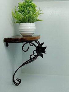 Wooden & Iron Wall Bracket | Shelf for Living Room & Home Decor (Material: Iron and Wooden)