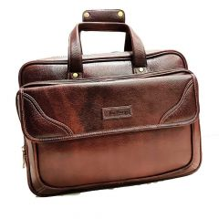 Elegant Exclusives Leather Unisex Laptop Office Work Bag with Multiple Compartments & Stylish Fasteners Double Handle Extendable Briefcase For Men's and Women's (Rust Brown)