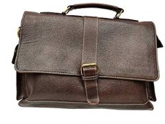 Elegant Exclusives Designer Leather Briefcase Bag for Men | 15.6'' Laptop | Multiple Compartment | Expandable Features For Men's and Women's (Chocolate)