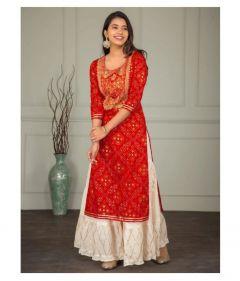 Cotton Stylish & Fashionable Kurti and Matching Printed Palazzo Set - Stitched Suit
