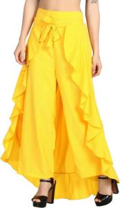 Women Flared Trousers Polyester Blend - Yellow