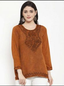 Women's Casual 3/4 Sleeve Brown Embroidered Top