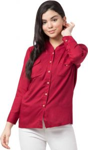 Women's Casual Full Sleeve Shirt Style Solid Maroon Top