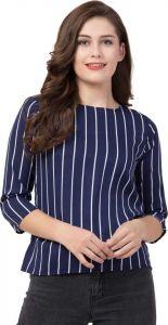 Casual 3/4 Sleeve Self Design Women Blue/White Top