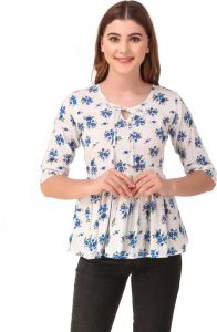 FashionNYou Casual 3/4 Sleeve Floral Print White & Blue Top