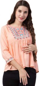 Women's Casual 3/4 Sleeve Solid Pink Cotton Top
