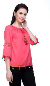 FashionNYou Casual 3/4 Sleeve Solid Women Pink Top