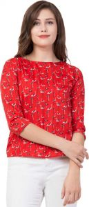 Women's 3/4 Sleeve Casual Printed Red Top