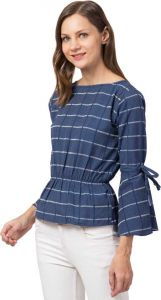 Women's Casual 3/4 Sleeve Checkered Blue Top