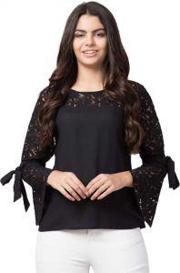 Women's Self Design Casual 3/4 Sleeves Regular Top - Black