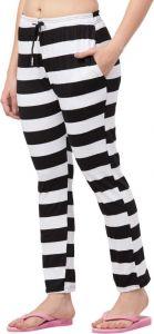 Women Regular Fit Hosiery Trousers - White/Black