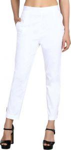 FashionNYou Regular Fit Women Cotton Lycra Blend Trousers - White