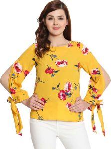 Women's Casual 3/4 Designer Sleeve Printed Top - Yellow