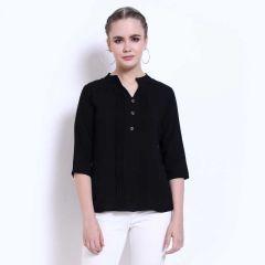 Women's Formal 3/4 Sleeve Mandarin Collar Solid Black Top