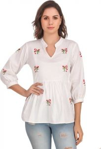 FashionNYou Casual 3/4 Sleeve Embroidered Women White Top