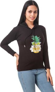 Full Sleeve Graphic Print Black Sweatshirt For Girls