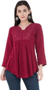 FashionNYou Casual 3/4 Sleeve Solid Women's Top - Maroon