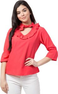 Casual Full Sleeve Solid Women V-Neck Top - Red