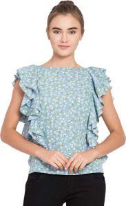 Casual Ruffled Sleeve Printed Women Light Blue Top