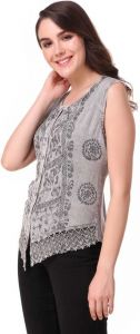 Casual Self Design Sleeveless Embroidered Women Tops - Light Grey