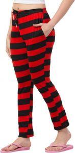 Women Regular Fit Hosiery Trousers - Red/Black