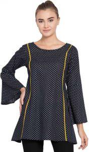 Women's Casual Full Sleeve Polka Print Black Top