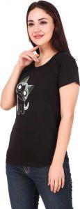 Women's Casual Regular Sleeve Printed T-Shirt Black & Maroon