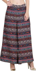 Women's Relaxed Multicolor Poly Crepe Trousers