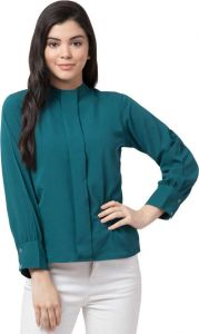 Women's Casual Full Sleeve Solid Green Rayon Top