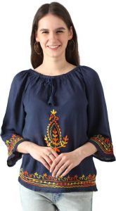 Women's Casual 3/4 Sleeve Embroidered Multi-Color Tops