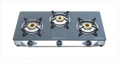 Bajaj CGX3 Eco Cook Tops 3 Burner Stainless Steel Glass Gas Stove with Matt Finish Stainless Steel Body   Toughened Glass-top   360 Degrees Central Swivel Nozzle (Black)