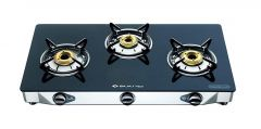 Bajaj GP6 Eco Cook Tops 3 Burner Stainless Steel Glass Gas Stove with Stainless Steel Drip Tray | Toughened Glass-top | Heavy Brass Burners | Charcoal Black Powder Coated Finish (Black)